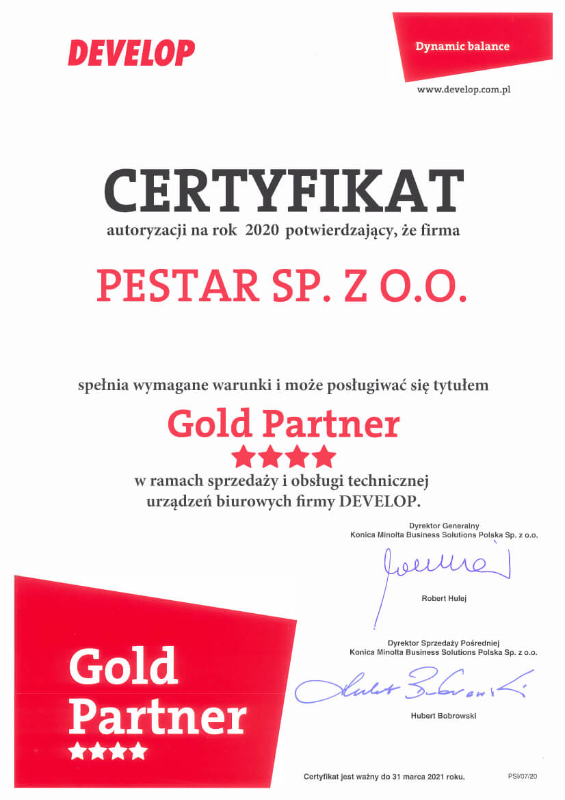 Certyfikat - Złoty partner Develop